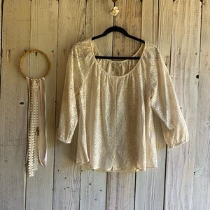 Lucky Brand Lace Peasant Blouse M EUC